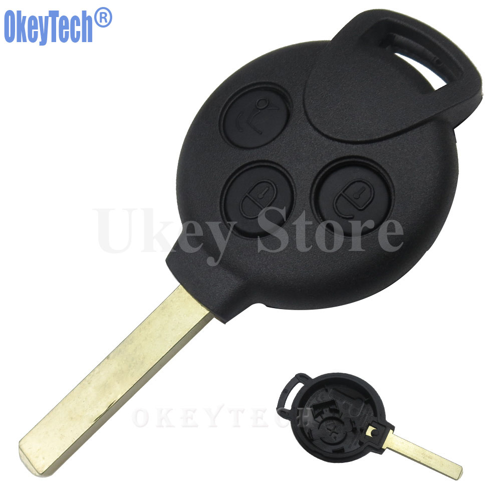 OkeyTech 3 Buttons Car Remote Key Shell Case Fob for MERCEDES BENZ MB SMART CAR CITY ROADSTER FORTWO Auto Replacement Key Cover nulla genuine carbon fiber car auto remote key shell fob holder case cover for mercedes benz w203 w211 car styling car sticker