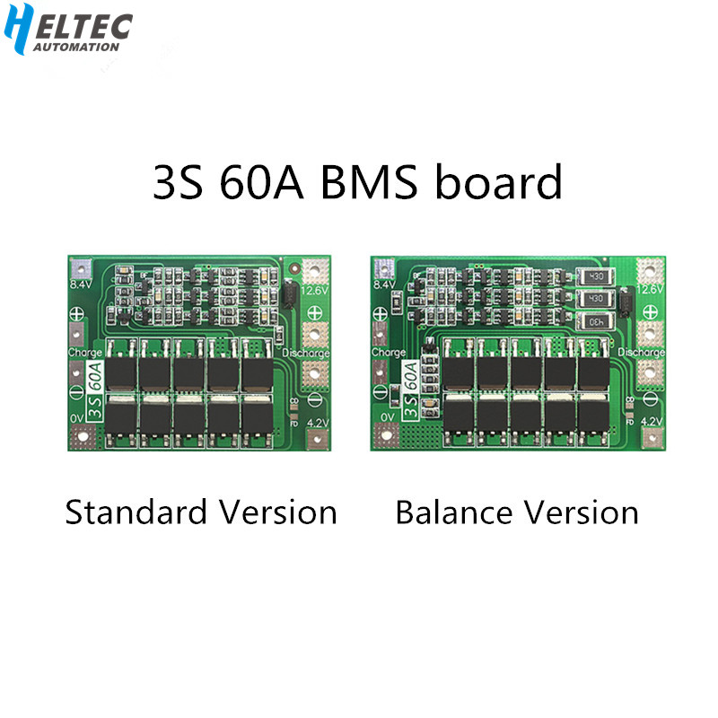 Balance 3S 60A BMS Board/ Li-ion 12.6V 18650 BMS PCM Battery Protection Board  For Li-ion Battery/18650 Battery Charger