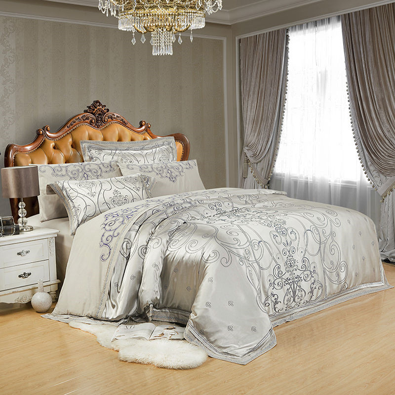 Image 2 - Sliver Gold Luxury Silk Satin Jacquard duvet cover bedding set queen king size Embroidery bed set bed sheet/Fitted sheet set-in Bedding Sets from Home & Garden