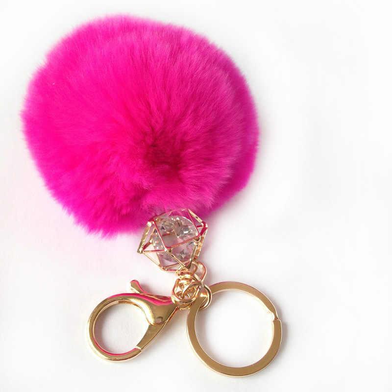 Hot Genuine Rex Rabbit Fur macio chaveiro bola de pele real sólida de cristal chaveiro para carro anel chave do carro pingente de bolsa de chaveiro