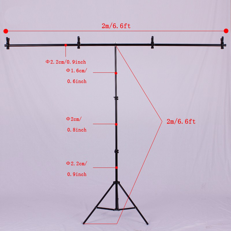 Photography 2m/ 6.5ft Professional Photo Studio Video Backdrops Stand Background Support System Aluminum Light Stand + Crossbar цена