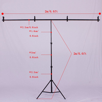 Photography 2m/ 6.5ft Professional Photo Studio Video Backdrops Stand Background Support System Aluminum Light Stand + Crossbar