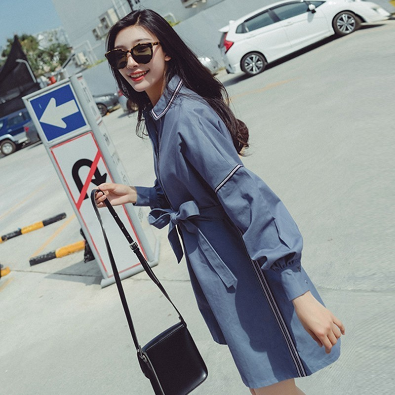 Up Dress Blue Femmes Robes Twotwinstyle Lace Lanterne Mode Rayé Femme Mini Coréenne Robe Chemise Grande Vêtements Manches Automne Taille Sexy Hwq0UBq
