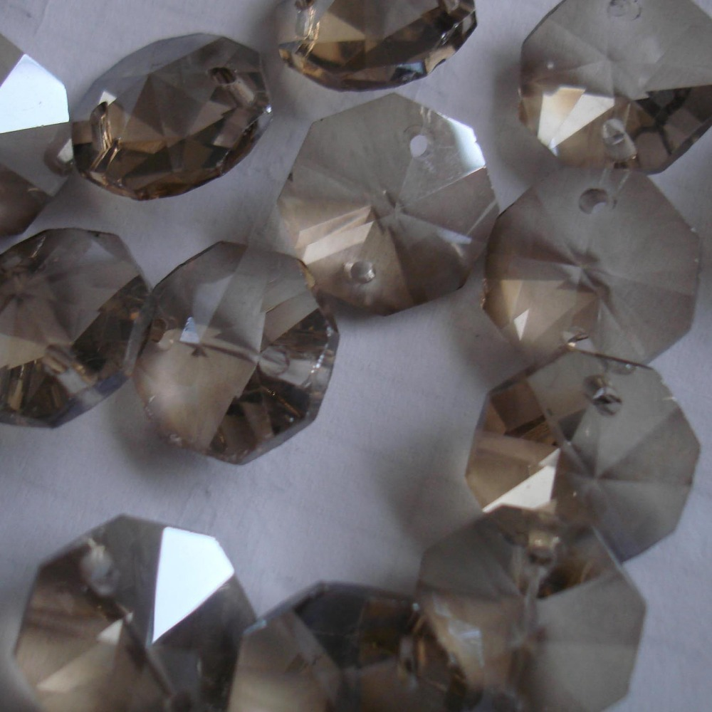1000pcs/lot cognac color 14mm crystal prisms beads in 2 holes for wedding garland strand free shipping.