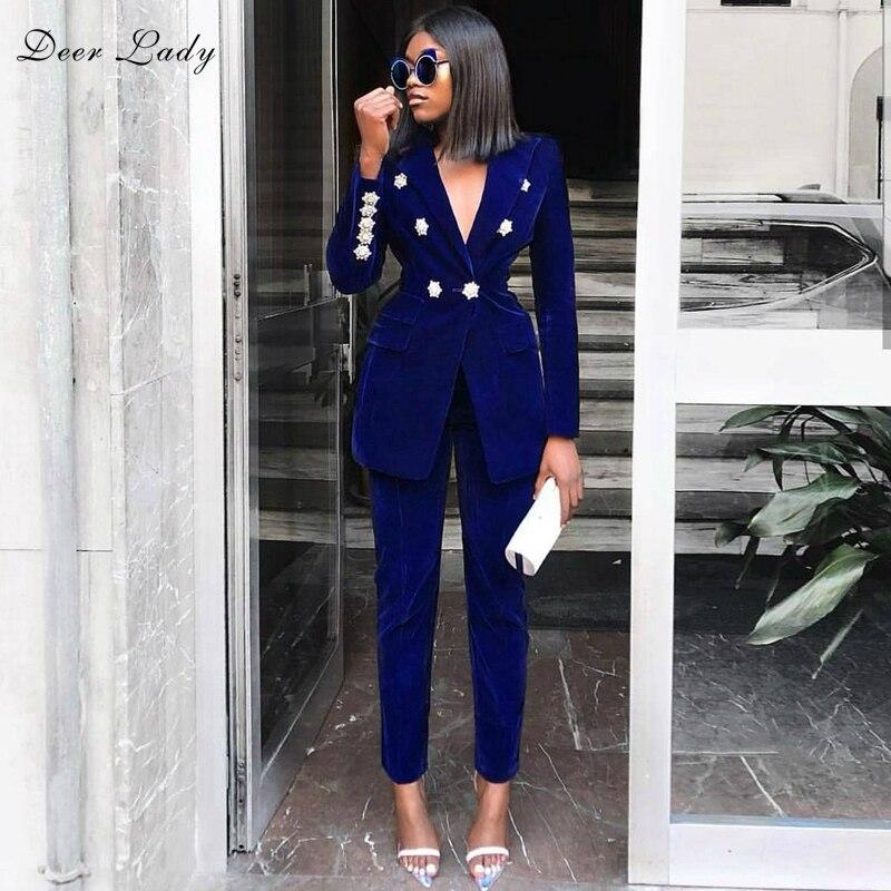 Women 2 Piece Set Top And Pants 2019 Summer New Arrivals Rhinestone Long Sleeve Suit Office Blue Sexy High Waist Pants Set