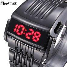 Уникальный Железный человек смотреть Сталь синий и красный цвета цифровой светодиодный роскошный Военная мода Платье Спортивное наручные часы Новый мужской часы мужской новый