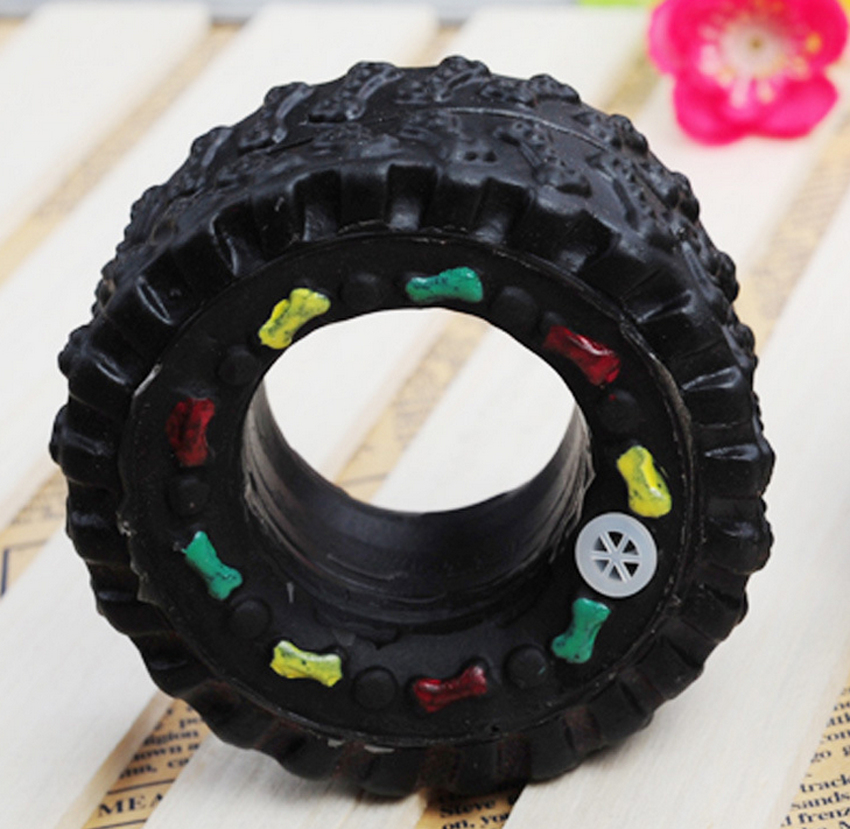 New Arrival Animal Sounds Tire Pet Dog Toy Puppy Cat Chews Squeaky Squeaker Rubber Toys