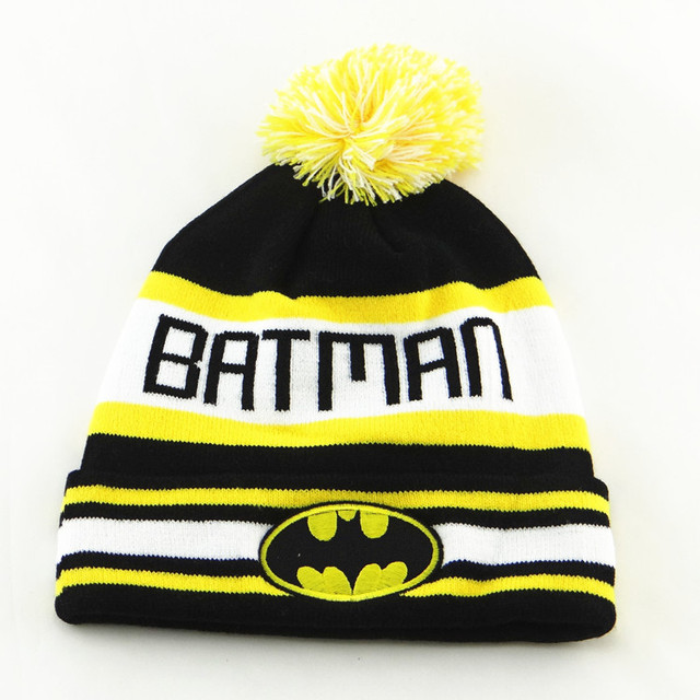 Vintage DC Black Striped Batman Knit Beanie Hats Snow Winter Wool Caps For  Men Women cc2da3ae8a9a