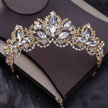 Diverse Silver Gold Crystal Crown Bride Tiara For Wedding 5