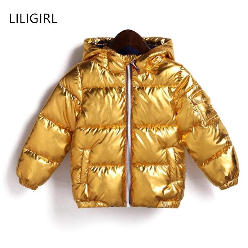 8a44ac72f51 Kopen Goedkoop LILIGIRL 2018 Nieuwe Winter Gold Baby Down Katoen Capuchon  Jas voor Meisjes Jongens Zilveren Shining Warme Dikke Tops kleding Uitloper  Prijs
