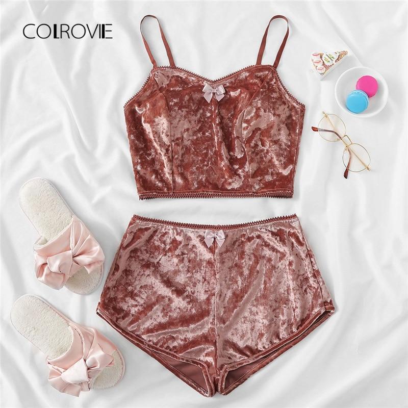 COLROVIE Rust Bow Detail Velvet Cami Shorts Pajama Set 2018 Women Blue Casual Pajamas Pink Lounge Sleepwear Red Sexy Nightwear