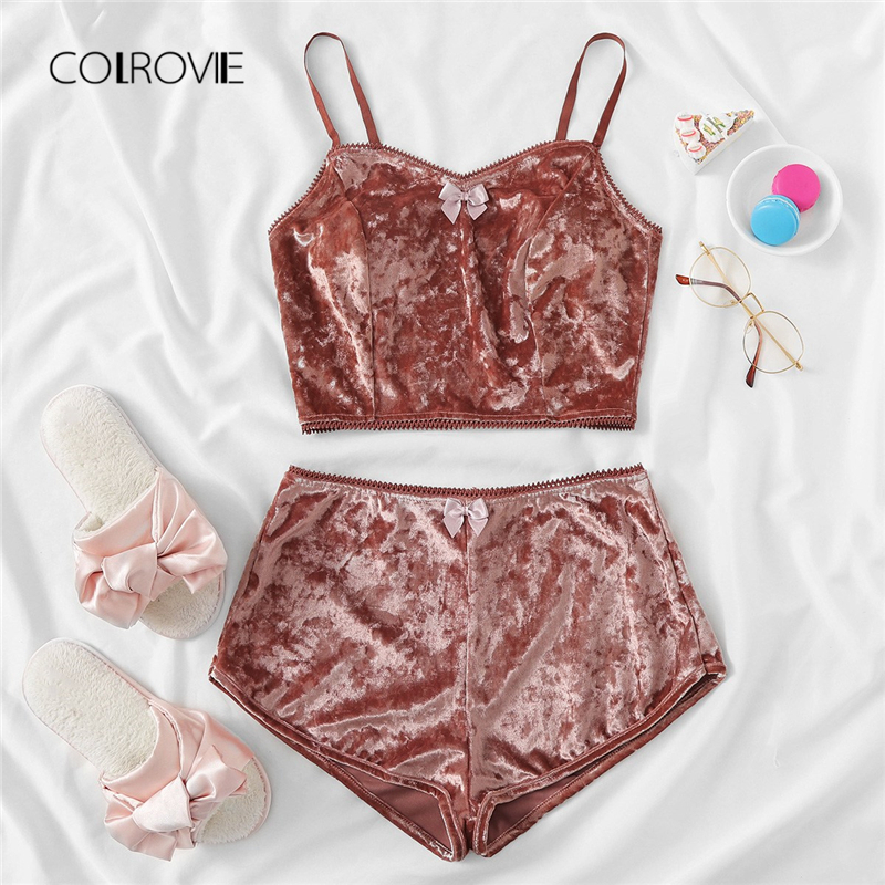 COLROVIE Rust Bow Detail Velvet Cami Shorts   Pajama     Set   2018 Women Blue Casual   Pajamas   Pink Lounge Sleepwear Red Sexy Nightwear