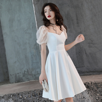 Sexy White Women V-neck Slim Dress Satin Solid Evening Prom Formal Dresses Summer Short Sleeve Bridesmaid Wedding Gowns Vestidos