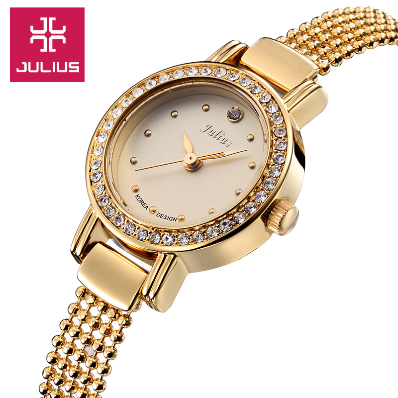 Top Julius Lady Women's Wrist Watch Fashion Hours Dress Rhinestone Bracelet Chain Business School Girl Birthday Gift