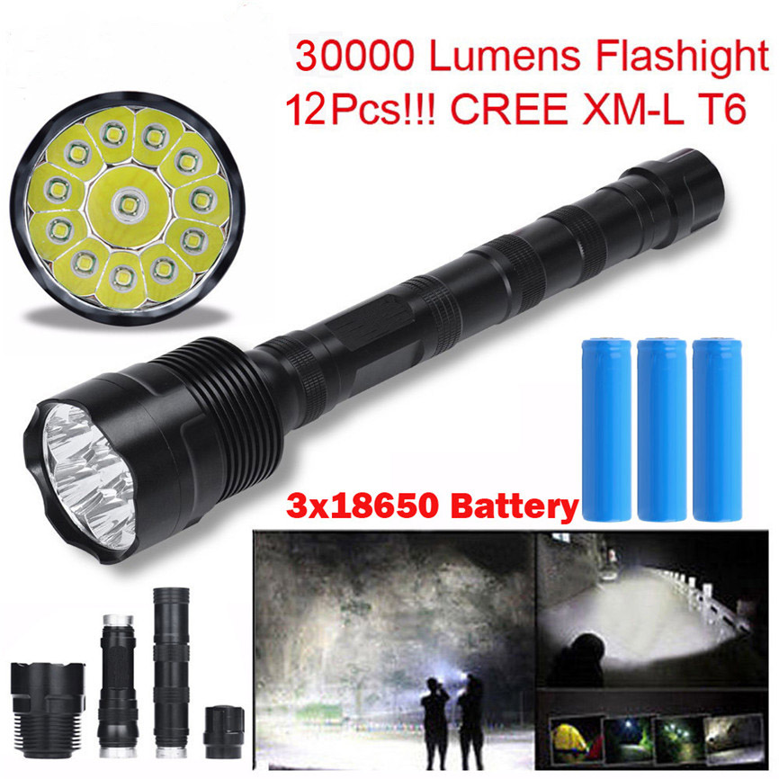Super 30000 Lumens 12x CREE XML T6 5 Mode LED Flashlight 3X 18650 Battery Light Lamp Dropshipping B35 flash light 5 mode 3800 lumens 3 x cree xml t6 led flashlight brightness light outdoor camping light 3x18650 battery charger