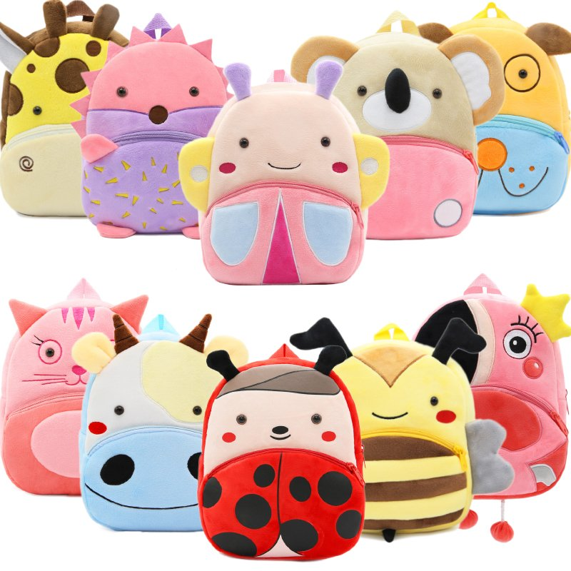 2019 Cartoon Kids Plush Backpacks Mini Kindergarten schoolbag Plush Animal Backpack Children School Bags Girls Boys Backpack(China)