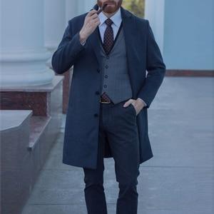 Image 4 - Mu יואן יאנג X ארוך מעילים מקרית Mens צמר תערובת חליפת צווארון מעילי מלא חורף עבור זכר צמר ארוך מעיל קשמיר 3XL 4XL