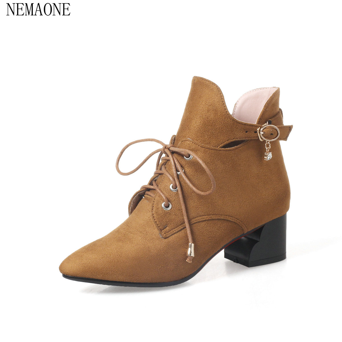 NEMAONE 2018 ankle boots high quality hot sale pu leather high pointed toe fashion lace-up rivets women red wine winter boots