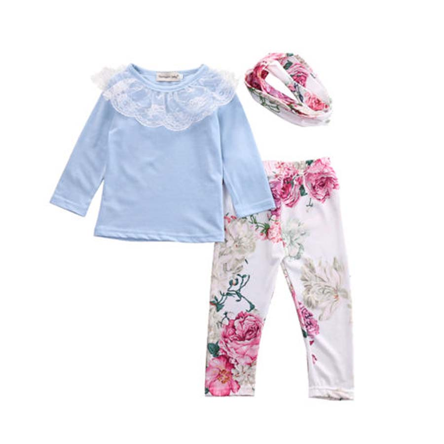 2018 3Pcs New Newborn Baby Girls Floral Clothes Lace Blue Pants Headband Outfits Fornite Comfortable Sets Kids Girl Clothing все цены