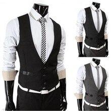 High Quality Men Vest Suit Single-breasted Formal Mens Vests Slim Fit Solid Color Mens Waistcoats Dress Vests Homme
