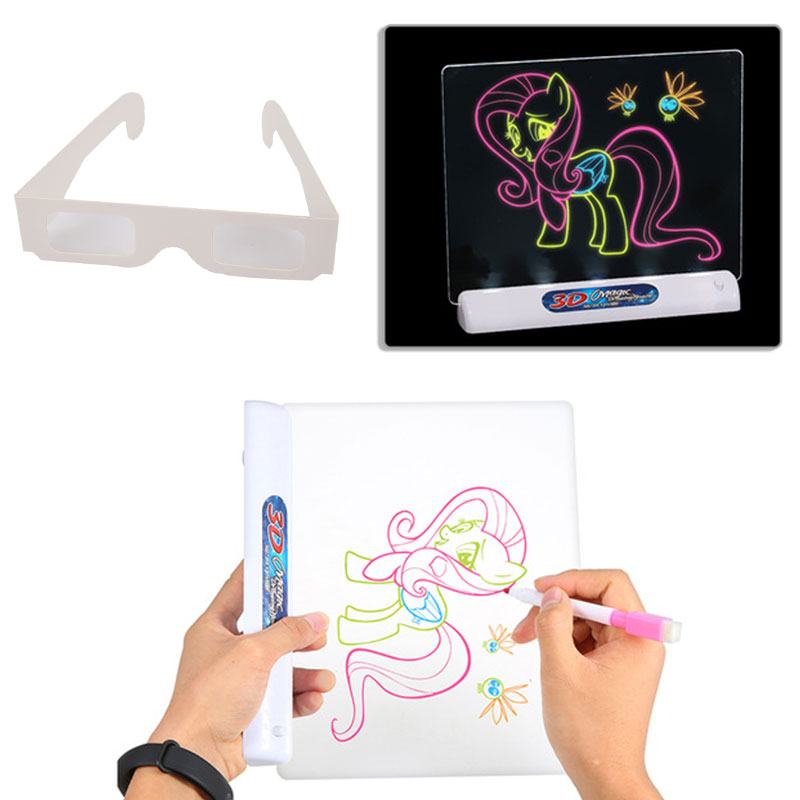 Dinosaur Drawing Pad with 3D Glasses,Painting Learning Pad for Birthday Christmas Day Gift Kids Magic 3D LED Drawing Board
