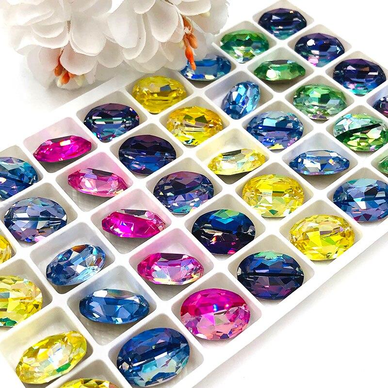 New Arrival Pointback Glue On Glass Rhinestones High Quality Crystal Oval Shape Laser Rhinestones Diy Bag/clothing Accessories
