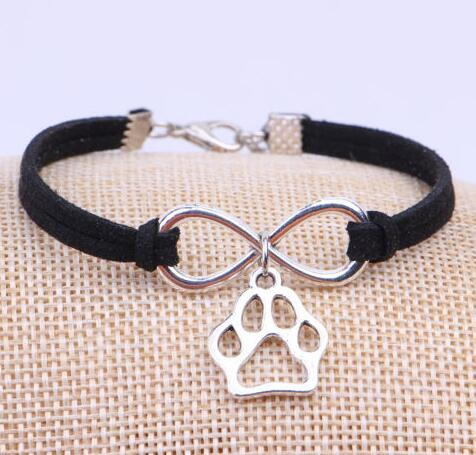 Us 5 98 18 Off Mixed Vintage Silver Infinity Dog Paw Prints Bracelet Jewelry Charm Velvet Rope Cuff Bangles Women Accessories Bijoux 10pcs B331 In