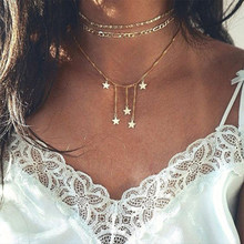KISSWIFE Newest Fashion Jewelry Accessories Punk Gold Color Star Tassel Choker Necklace For Couple Lovers' Girl Gift(China)