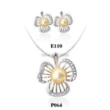 Lady Earrings Necklace Jewelry Set 925 Sterling Silver Pendant Yellow Shell Pearl Parure de Bijoux SET006
