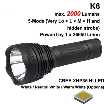 K6 Cree XHP35 HI White 6500K / Neutral White 5000K / Warm White 3000K 2600 Lumens 5-Mode LED Flashlight - Black ( 1x26650 )