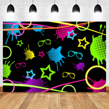 Neoback Lets Glow Party Backdrop Hip Hop Neon Decoration Photo Graffiti Wall 80s 90s Photography Background