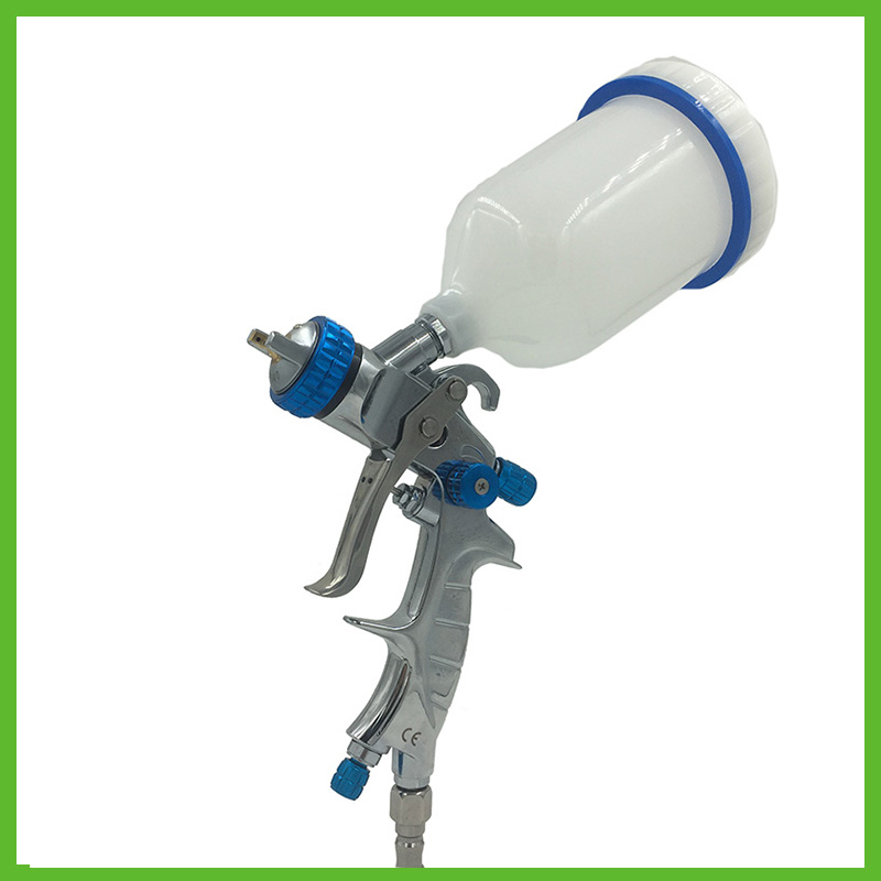 цена на SAT1215 air spray paint gun gravity feed stainless nozzle 1.3 1.4 1.7 high pressure air silver mirror chrome spray gun tools