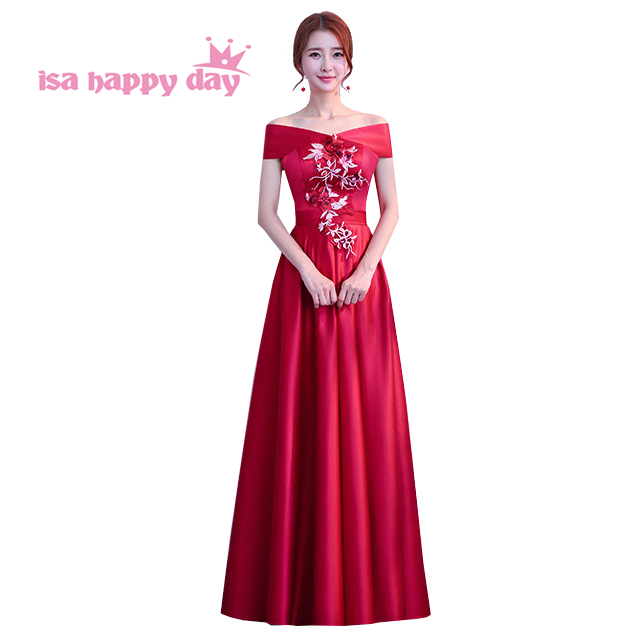 cheap beautiful teen girls off the shoulder burgundy color gradient satin   bridesmaid     dress   long occasional   dresses   H4195