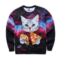2016 Galaxy Animal Cat Eat Pizza 3D Print Hoodies Pullover Sweatshirt for men/women,men hoodies,3d sweatshirt men DM#6