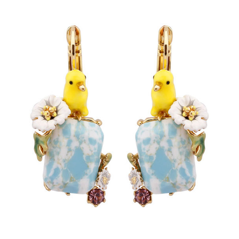Lovely yellow bird blue white stone earrings for women enamel glaze flower gem earring fashion lady jewelry