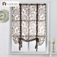 Кухонные Короткие шторы, жаккардовые римские шторы, цветочные белые прозрачные панели, синие тюлевые оконные шторы, занавески для двери, до...