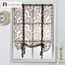 Kitchen short curtains jacquard roman blinds floral white sheer panel blue tulle window treatment door curtains home decor(China)