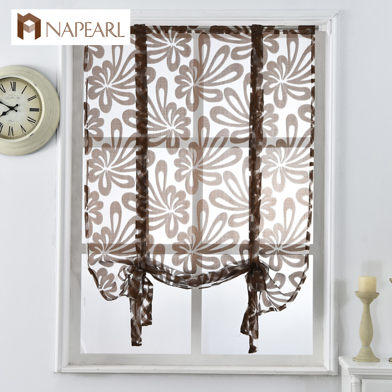 Kitchen Short Curtains Jacquard Roman Blinds Floral White Sheer Panel Blue  Tulle Window Treatment Door Curtains