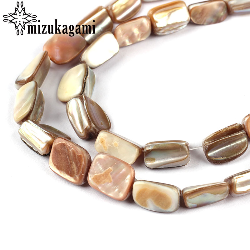 25pcs Natural Shell Pearl Beads Freshwater Freeform Brown Stone Spacer Strand 14 For DIY Jewelry Accessories