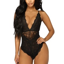 цены на Sexy Womens Lingerie Bodysuit Strappy Plunge V Neck Bodycon Leotard Lace Sling Sleepwear Teddies Bodysuits G-String Underwear  в интернет-магазинах