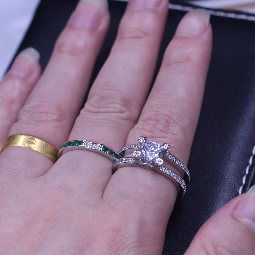 Vecalon feminino jóias de luxo anel de noivado verde aaaaa zircon cz 925 prata esterlina anel de casamento conjunto para mulher - 5