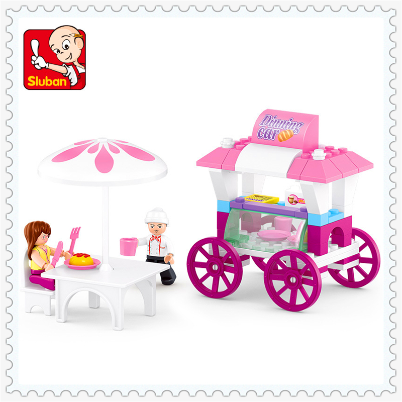 Pink Dreams Series Dining Car Model Building Block Toys Compatible Legoe SLUBAN 0522 78Pcs Assemble Gift For Children lepin 22001 pirate ship imperial warships model building block briks toys gift 1717pcs compatible legoed 10210