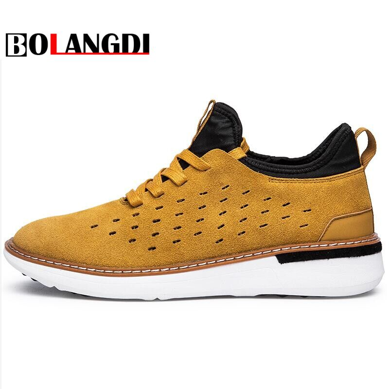 Bolangdi Spring Genuine Leather Breathable Men Sneakers Shoes Brand Outdoor Mens Sport Shoes Comfortable Training Running Shoes