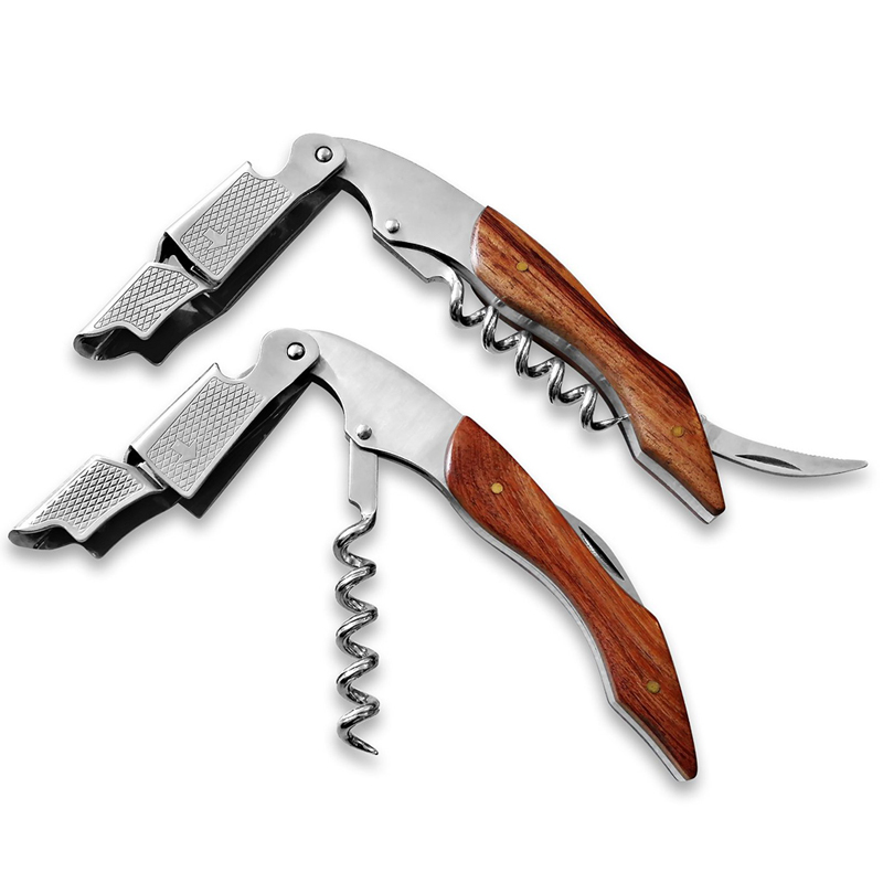 Wine Bottle Opener Wood Handle Professional Wine Opener Multifunction Portable Screw Corkscrew Cook Portable Kitchen Tools