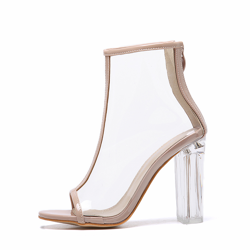 DEleventh Hot Sexy Transparency Clear PVC Heel Open Toe Square High Heels Boots Woman Shoes Transparent Block Heel Sandals Lady