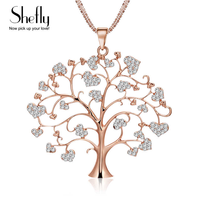 Unique Tree of Life Pendant Necklace Female Europe Long Sweater Chain Statement Necklace Female Collier Jewelry