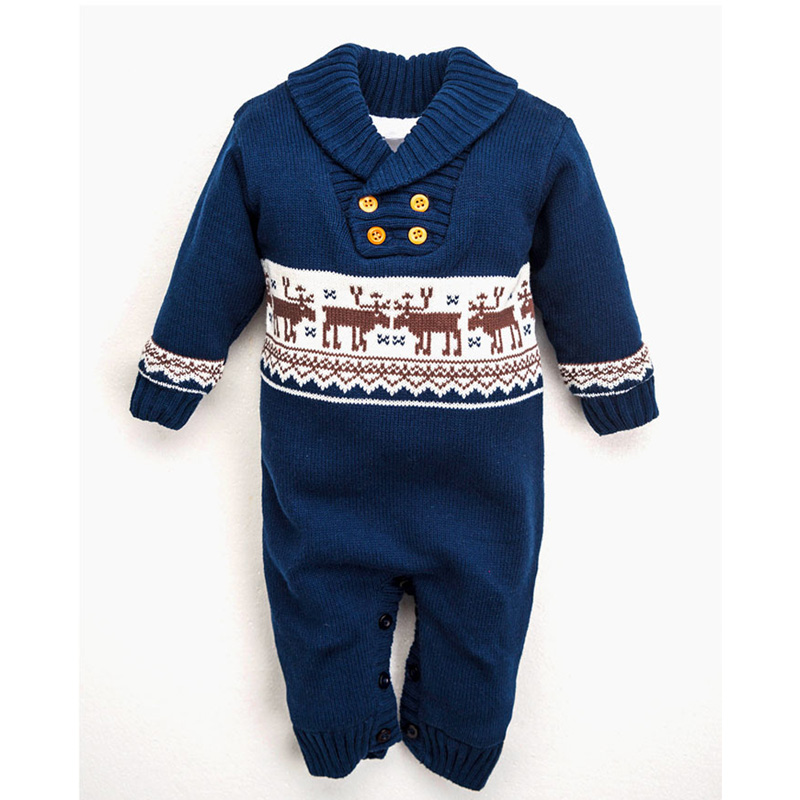 Newborn Baby Warm Sweater Romper Winter Thick Knitted  Rompers Newborn Boys Girls Jumpsuit Christmas Deer Outwear Clothing christmas newborn cashmere baby rompers infant clothing winter warm thicken cotton baby jumpsuit long sleeve boys girls sweater