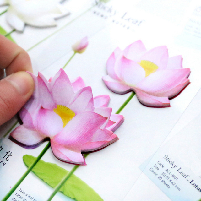 Romantic Lotus Flowers Memo Pad N Times Sticky Notes Diy