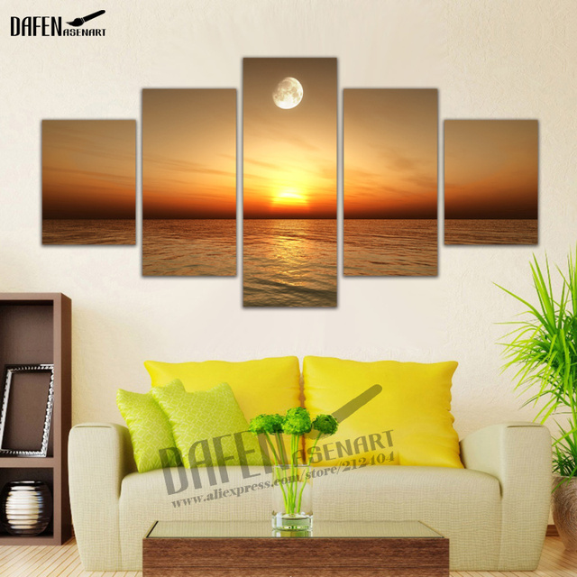 Aliexpress.com : Buy 5 Pieces Wall Art Pictures Golden Sunset on ...