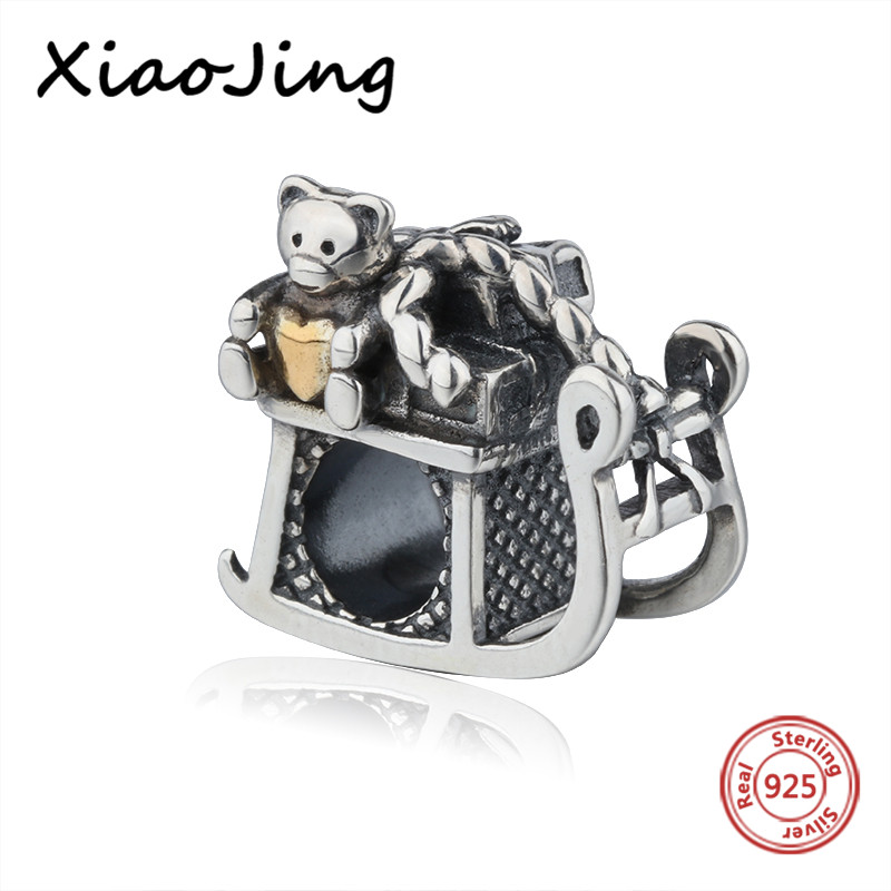 Fit authentic pandora charm Bracelets 925 Sterling Silver lovely animal bear Beads diy fashion Jewelry making for women Gifts